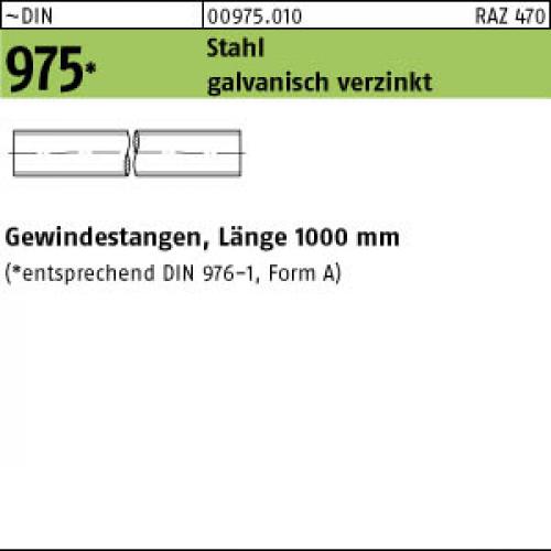 verzinkt gal Zn VE=S Gewindestangen 1 St/ück DIN 975 Stahl M 10 x 2000 galv